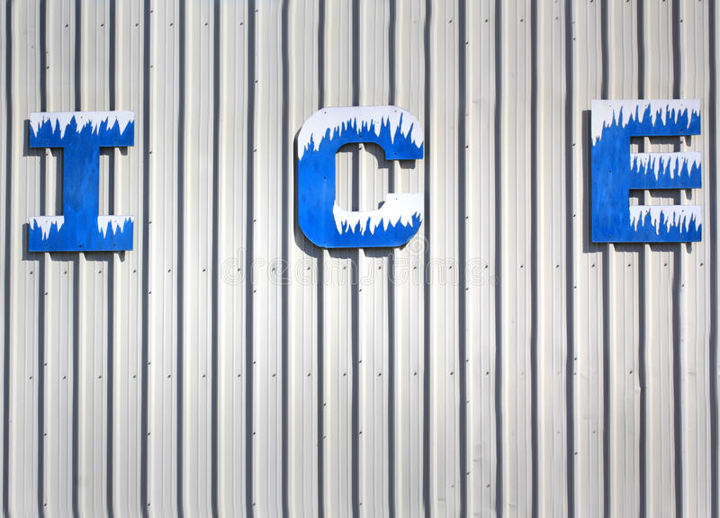 Ice Sign Letters stock image