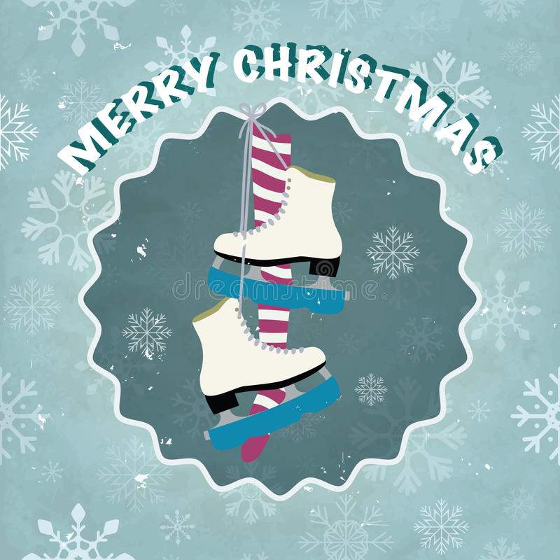 Ice skates. Merry Christmas greeting card with snowflakes and ice skates. Eps10 vector illustration vector illustration