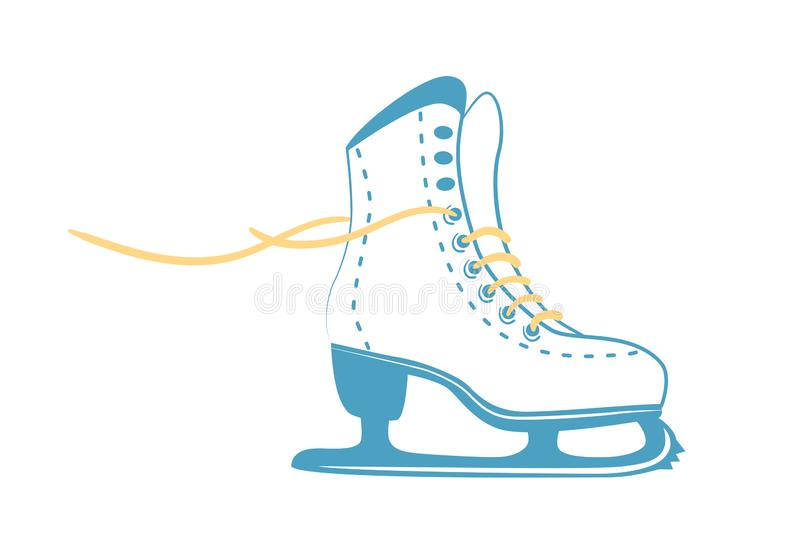 Ice skates with bright laces. White classic figure skate in line style. Sport equipment logo. Vector Illustration isolated on vector illustration