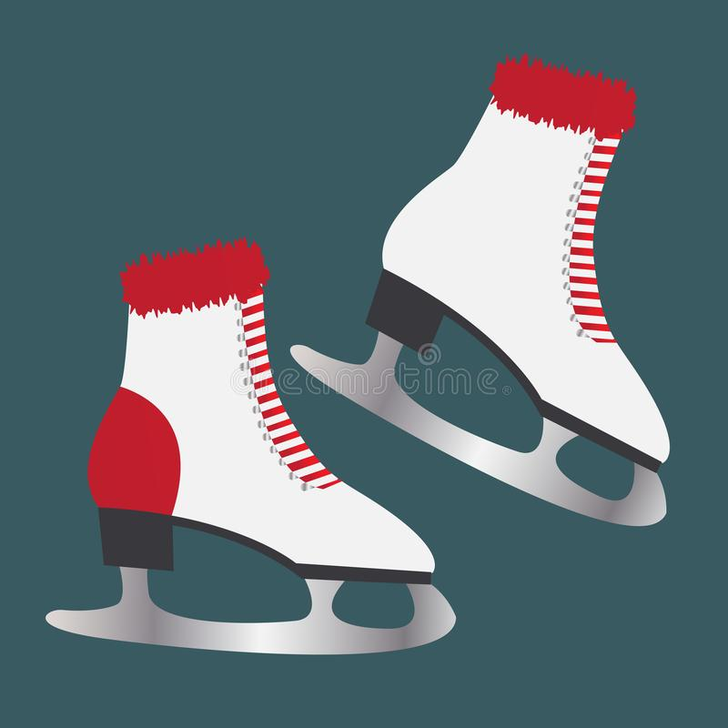 Ice skates with fur. Footwear for winter sports. Ice skates with fur. Footwear for winter sports royalty free illustration