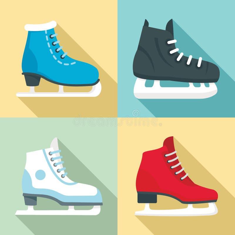 Ice skates icon set, flat style stock illustration