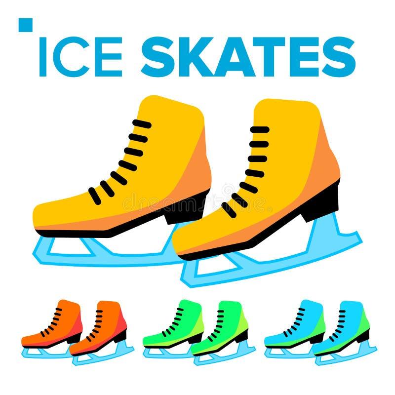 Ice Skates Icon Vector. Classic Female Winter Retro Figure Sport Shoes. Isolated Cartoon Illustration royalty free illustration