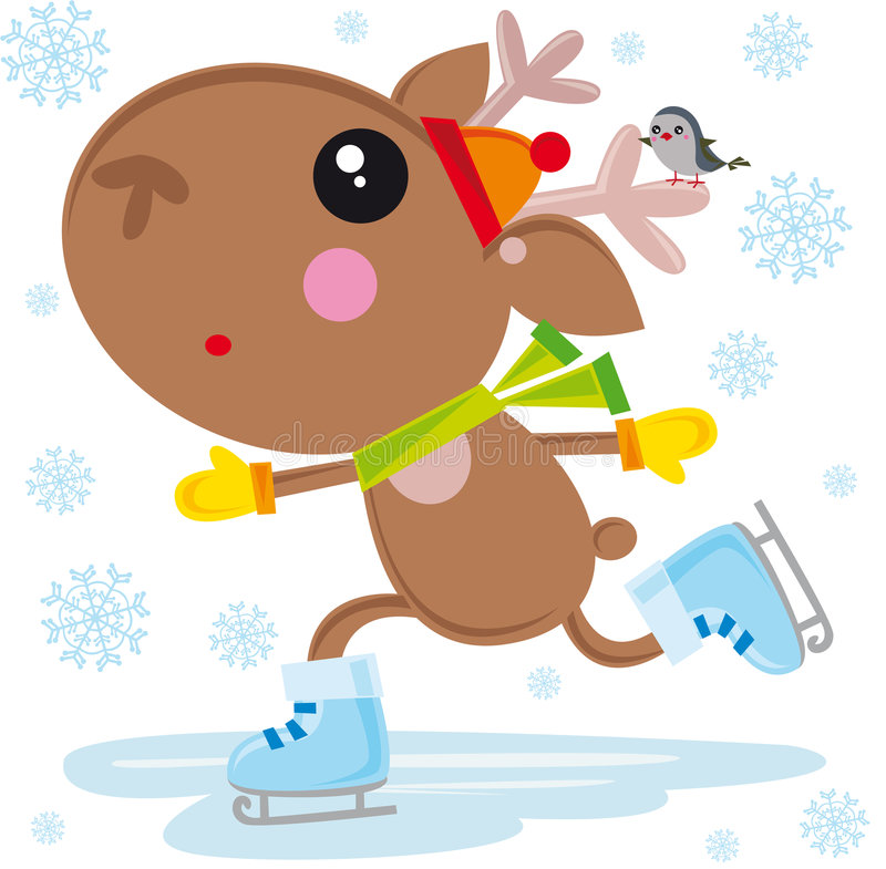 Download Ice skates reindeer stock vector. Image of robin, cartoon - 7074081