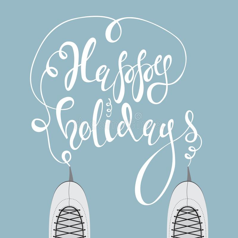 Ice skates and text Happy holidays royalty free stock photography