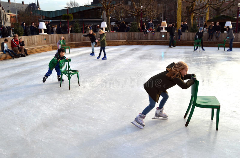 Download Ice skating in Amsterdam editorial stock photo. Image of girl - 65371593