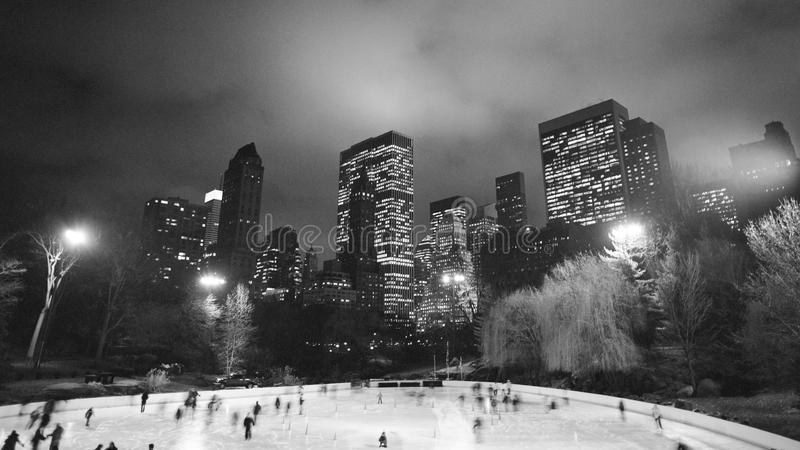 Ice skating in Central Park, New York. Ice skating at night in Central Park, New York in January