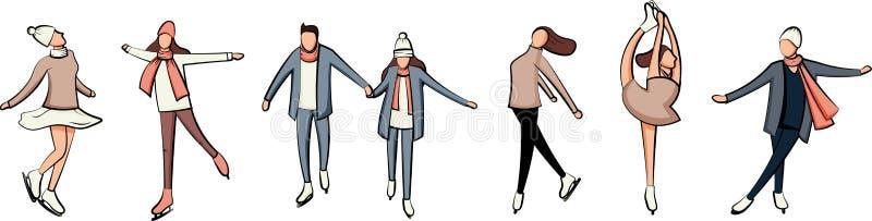 Ice skating character handrawn style cartoon design set vector illustration