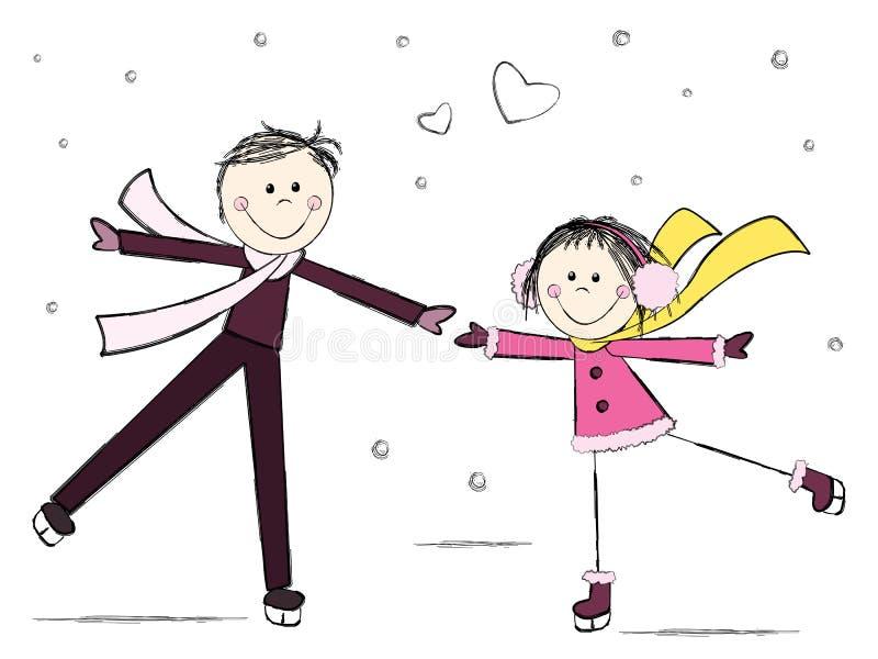 Ice skating couple stock illustration
