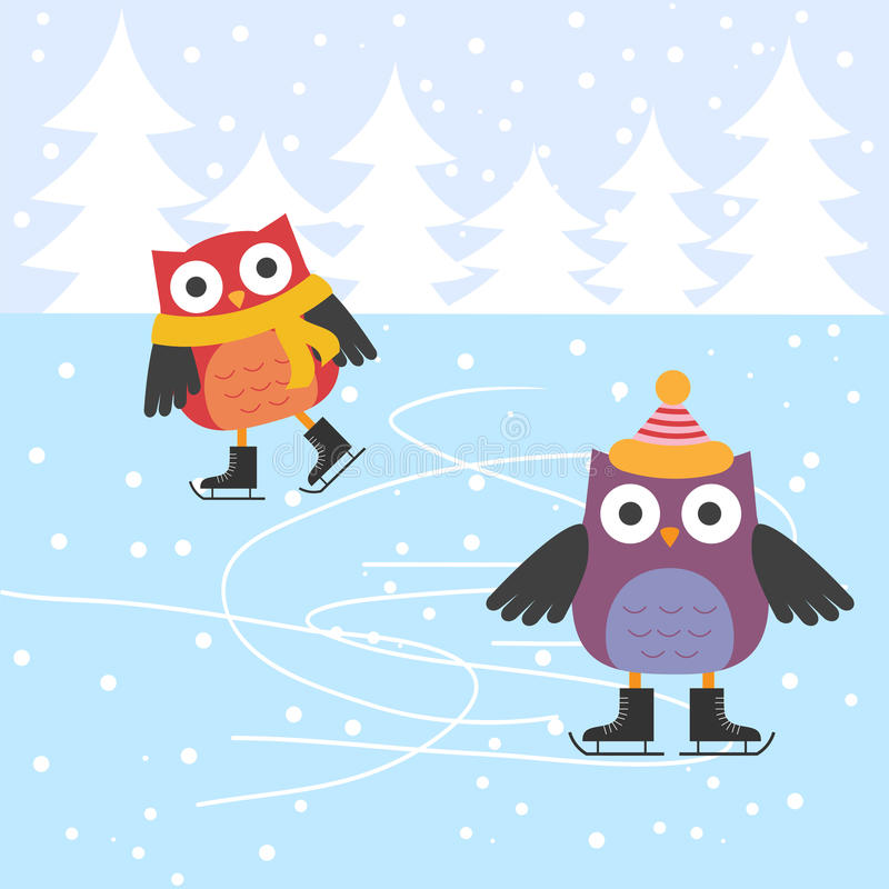 Ice Skating Cute Owls Stock Illustration Image Of