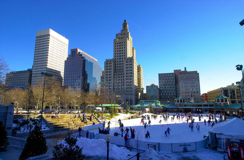 Ice Skating in Downtown Providence, RI. Beautiful winter day to skate in downtown Providence, RI. (Image taken from a color slide royalty free stock photos