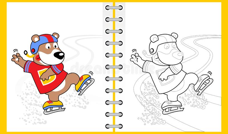 Ice skating with funny bear cartoon royalty free illustration