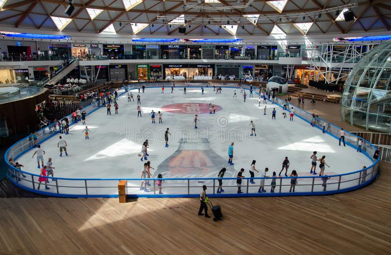 Ice skating at Ice Mall Eilat stock photography