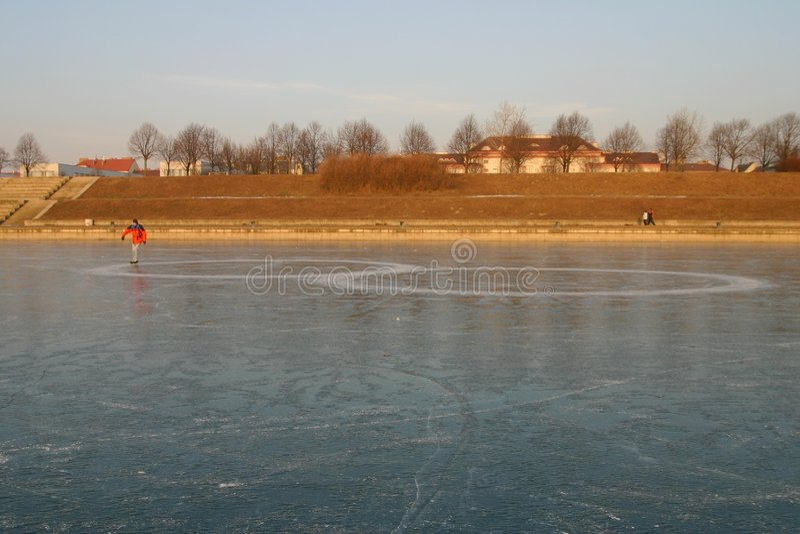 Ice-skating man royalty free stock images