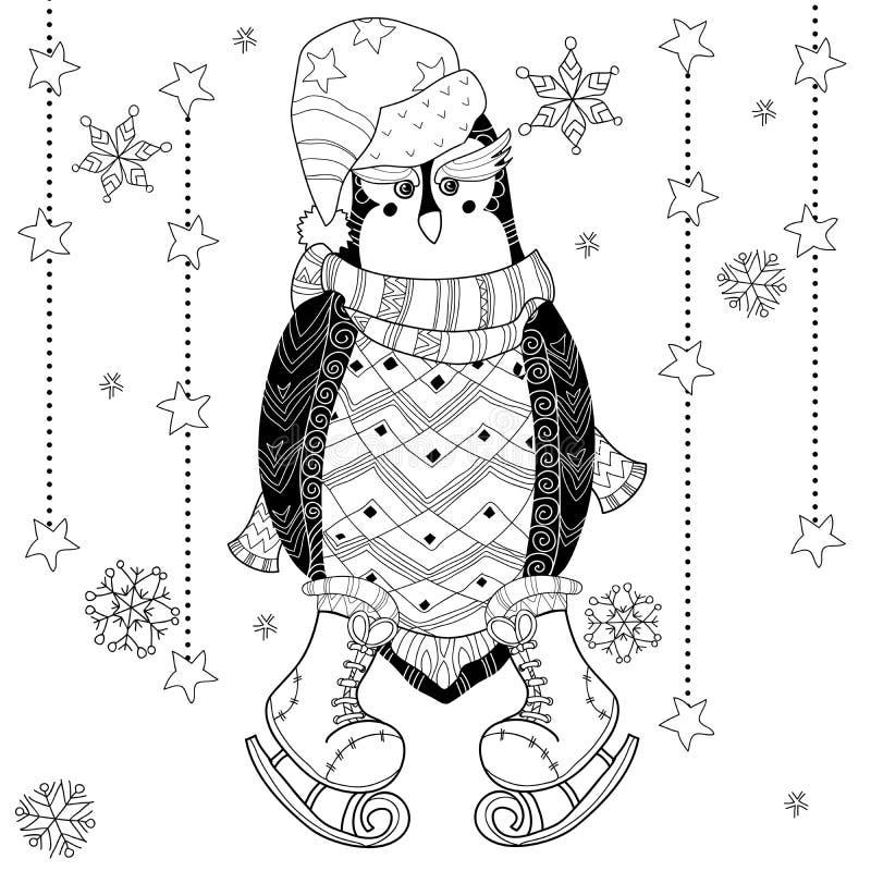 Ice skating penguin doodle vector illustration. vector illustration