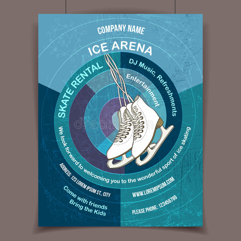 Ice Skating Rink Advertising Poster Stock Vector - Illustration of ...