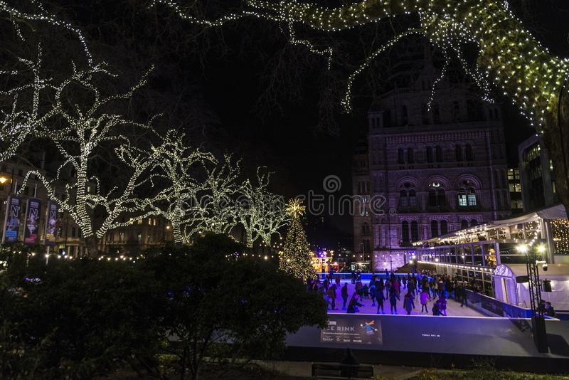 Ice skating rink at night in London, England, United Kingdom royalty free stock image
