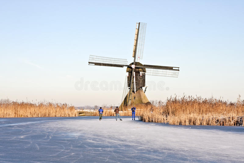 Ice Skating In Winter In The Netherlands Royalty Free Stock Image