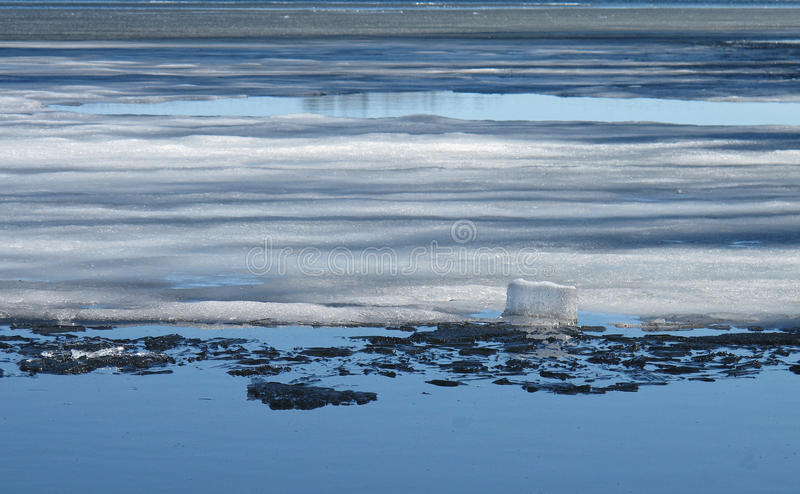 Ice smelting on a lake royalty free stock images
