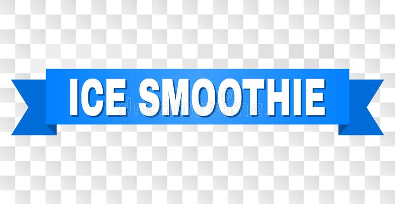 Blue Tape with ICE SMOOTHIE Caption. ICE SMOOTHIE text on a ribbon. Designed with white caption and blue tape. Vector banner with ICE SMOOTHIE tag on a royalty free illustration