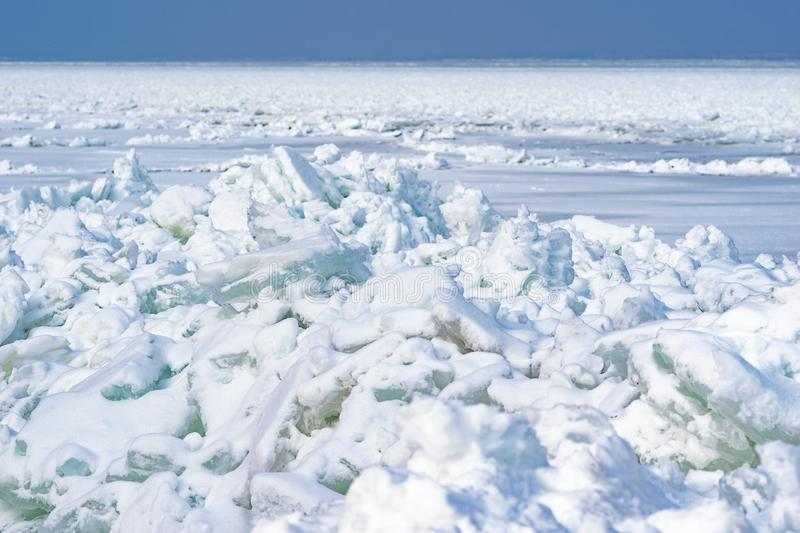 Ice and snow. The frozen sea in the north, the Arctic stock photos
