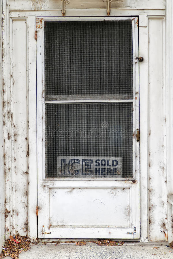Ice Sold Here Door royalty free stock images