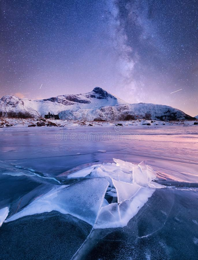 Ice and stars on the night sky. royalty free stock photography