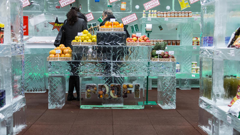 Ice store. The first ice store in the world opened by PROFI at Bucharest in 2013 stock image