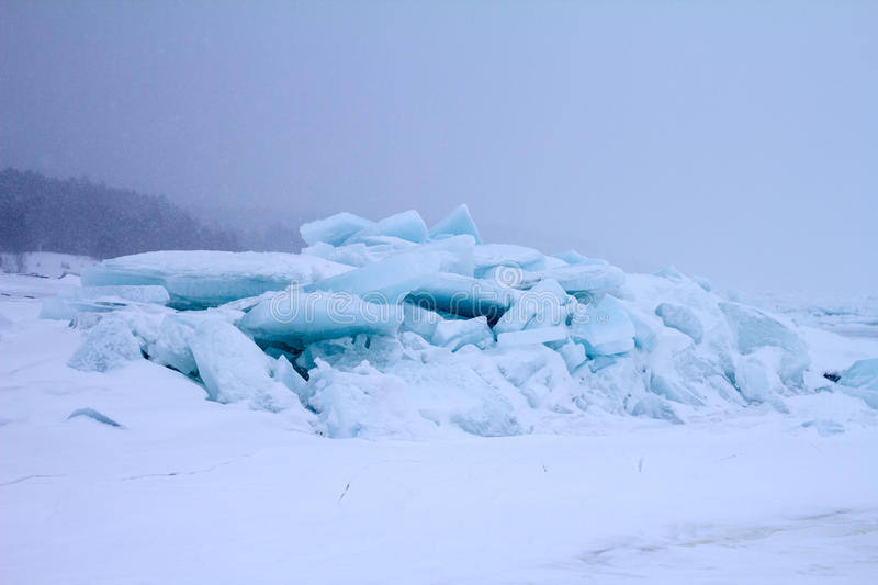 Ice after storm. Sea ice close up in the winter stock photo
