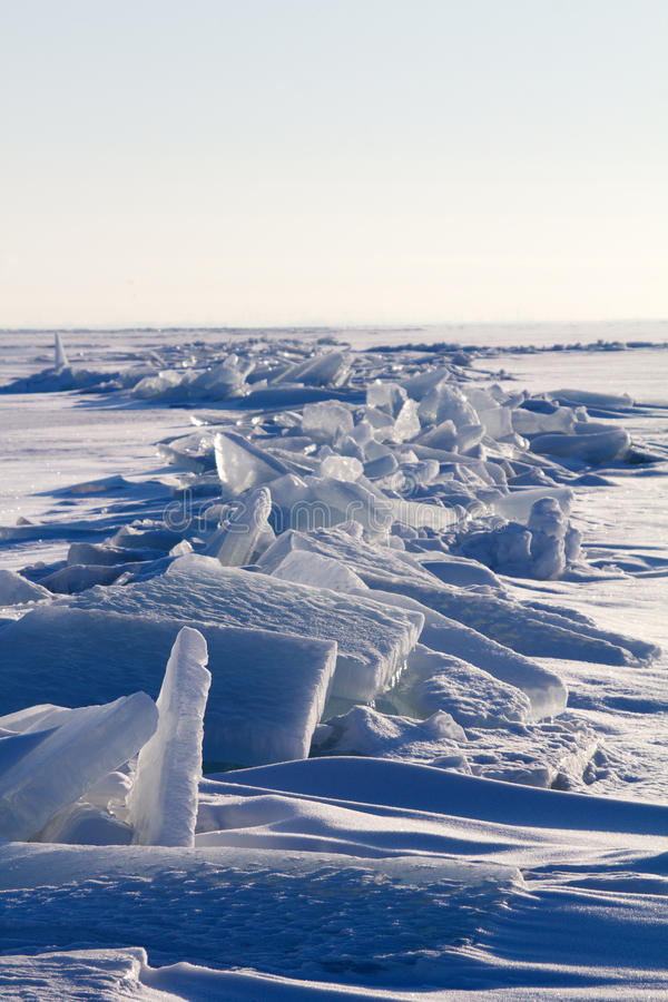 Ice on the sun. Sea ice close up in the winter royalty free stock photos