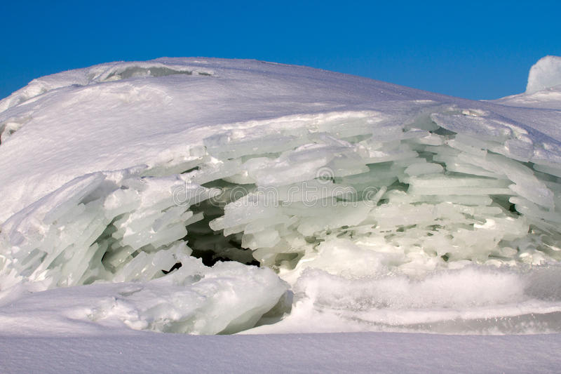Ice on the sun. Sea ice close up in the winter royalty free stock images