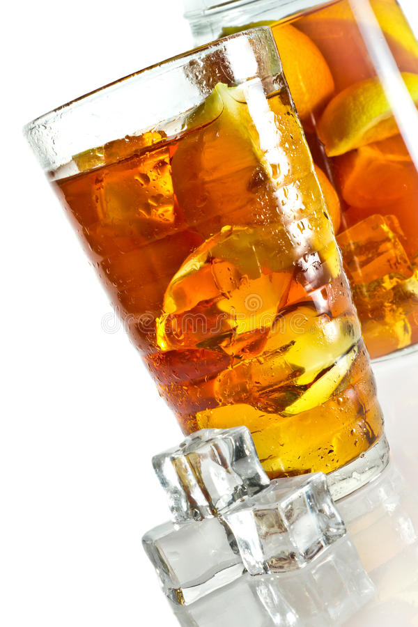 Ice tea in glass with cubes stock images