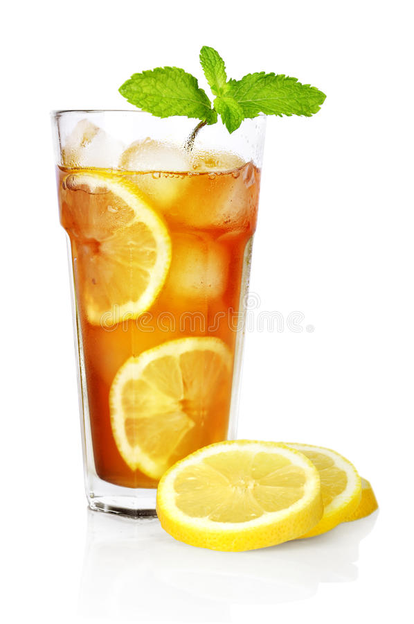 Download Ice tea with lemon stock image. Image of object, brown - 25177723