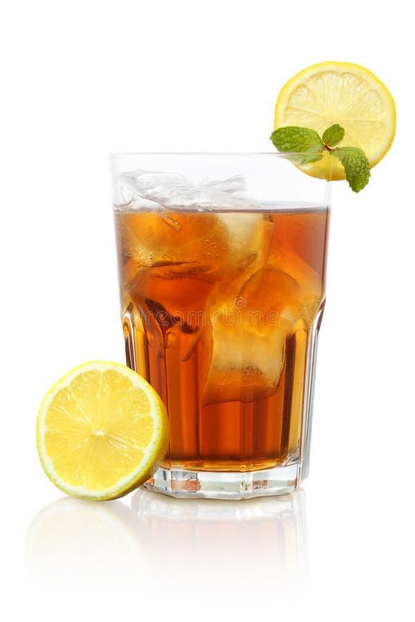 Ice tea and lemon mix honey very fresh isolated. Ice tea and lemon mix honey very fresh inside glasses isolated stock images