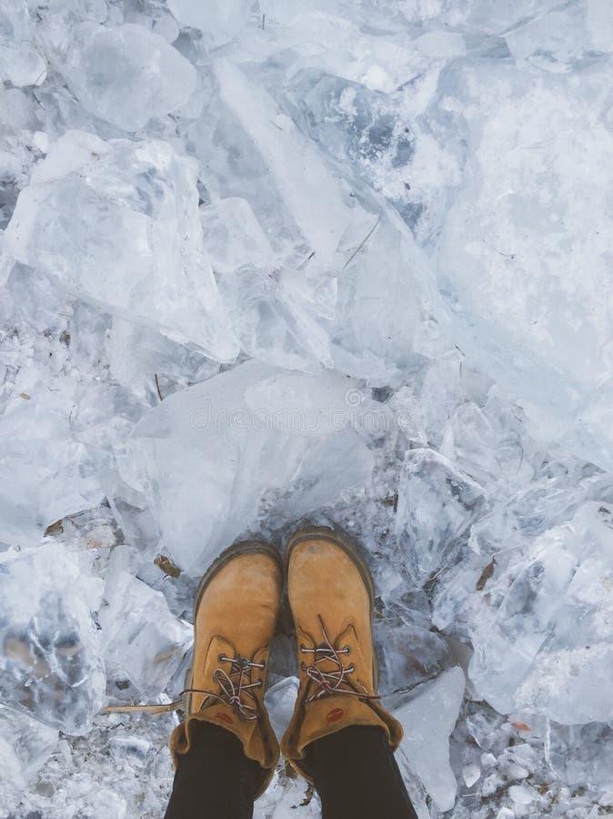 Ice under foots stock photo