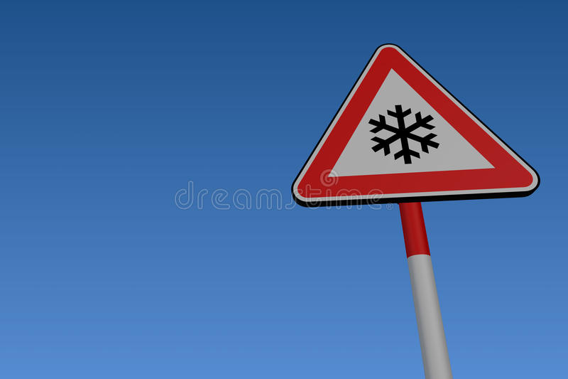 Ice warning road sign vector illustration
