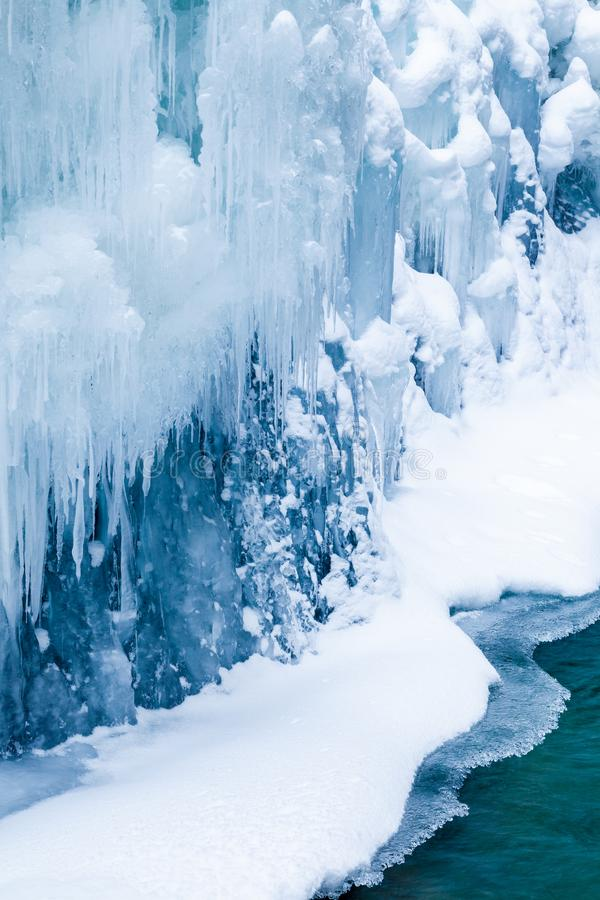 Ice and water in Johnston Canyon, Banff National Park royalty free stock photography