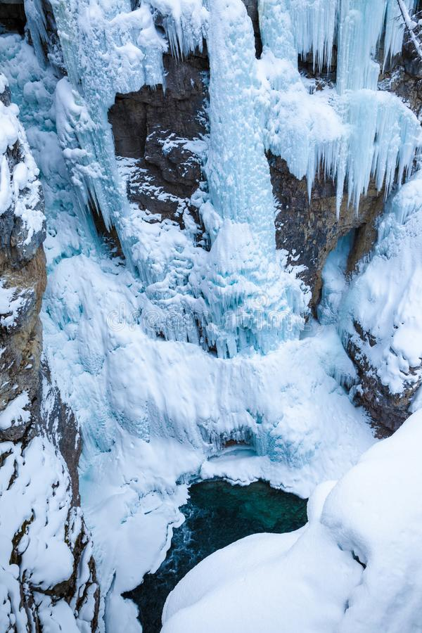Ice and water in Johnston Canyon, Banff National Park royalty free stock photos