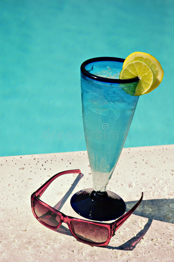 Ice Water By Pool Royalty Free Stock Image
