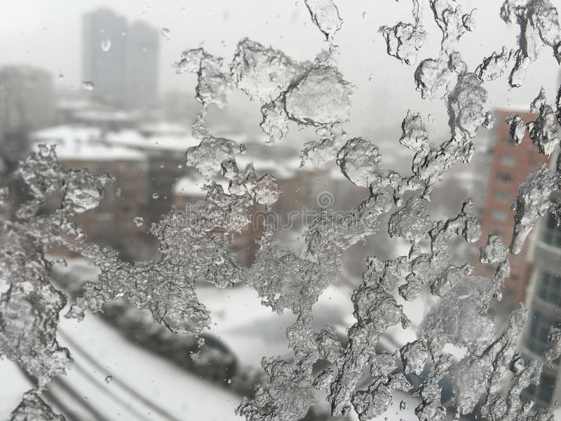 Download Ice On Window Against Street Under Snow Stock Photo - Image: 83700026