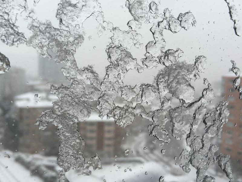 Download Ice On Window Against Street Under Snow Stock Photo - Image: 83700148