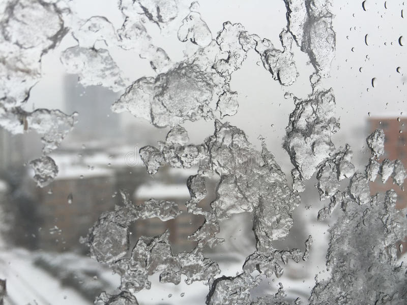 Download Ice On Window Against Street Under Snow Stock Photo - Image: 83700185
