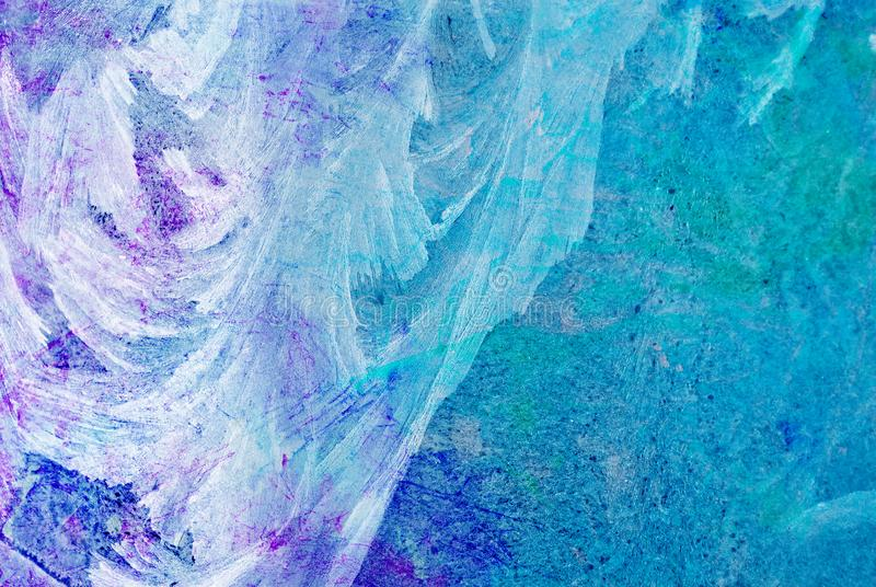 Mixed media artwork, abstract colorful artistic painted layer in blue, purple color palette on grunge ice texture. Photography background stock images