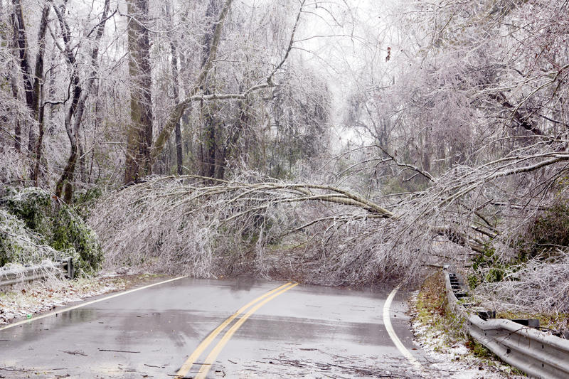 Ice winter tree road block yikes country beautiful damage royalty free stock photography