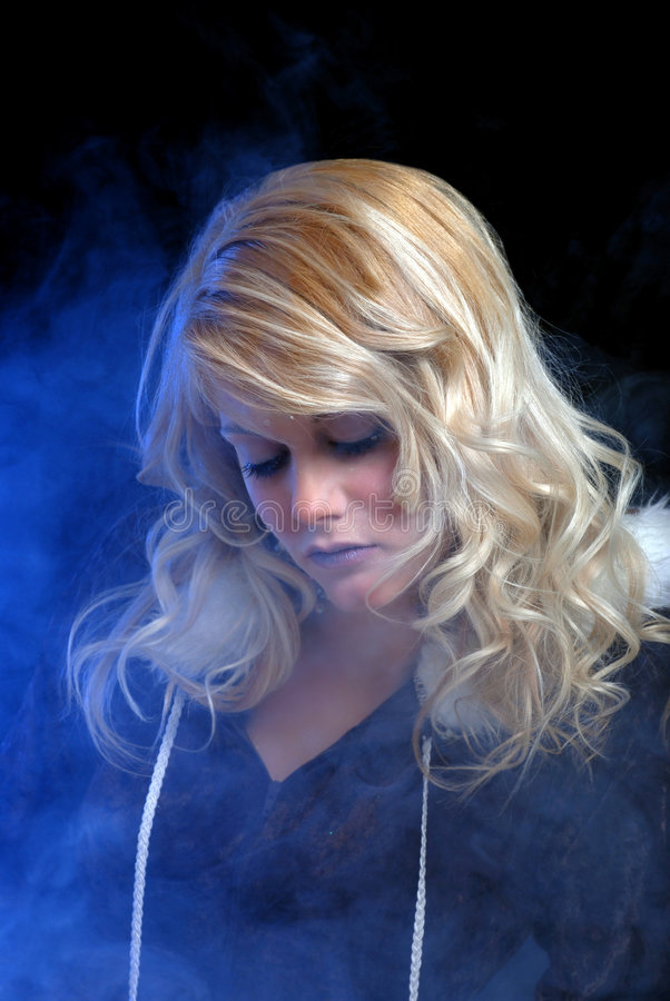 Download Ice Woman Dreaming With Blue Smoke Stock Photo - Image: 8059546