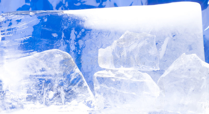 Ice1. Ice blocks with a blue background stock photos