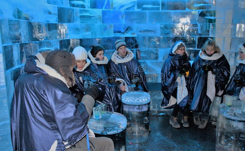At ICEBAR by ICEHOTEL Stockholm, Sweden. ICEBAR by ICEHOTEL Stockholm was built in 2002 as the world`s first permanent ice bar. Every year, interior and design stock image