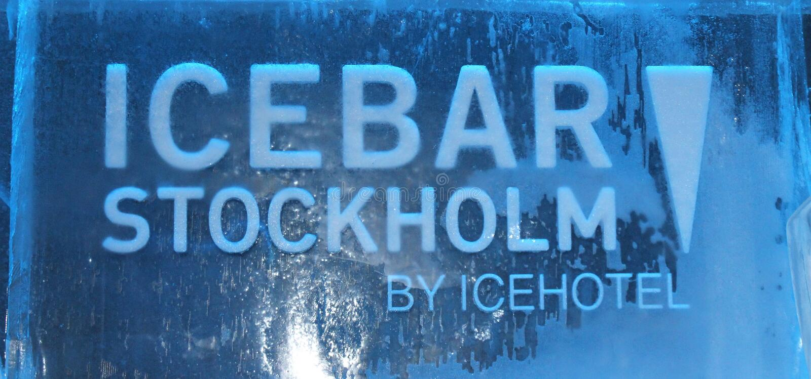 At ICEBAR by ICEHOTEL Stockholm, Sweden. ICEBAR by ICEHOTEL Stockholm was built in 2002 as the world`s first permanent ice bar. Every year, interior and design stock photo