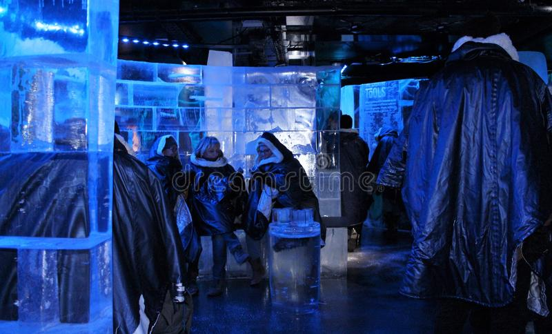 At ICEBAR by ICEHOTEL Stockholm, Sweden. ICEBAR by ICEHOTEL Stockholm was built in 2002 as the world`s first permanent ice bar. Every year, interior and design royalty free stock photos
