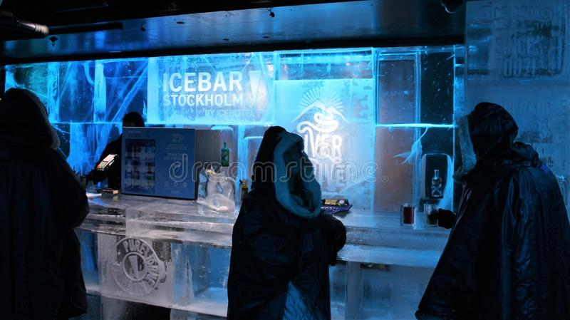 At ICEBAR by ICEHOTEL Stockholm, Sweden. ICEBAR by ICEHOTEL Stockholm was built in 2002 as the world`s first permanent ice bar. Every year, interior and design royalty free stock images
