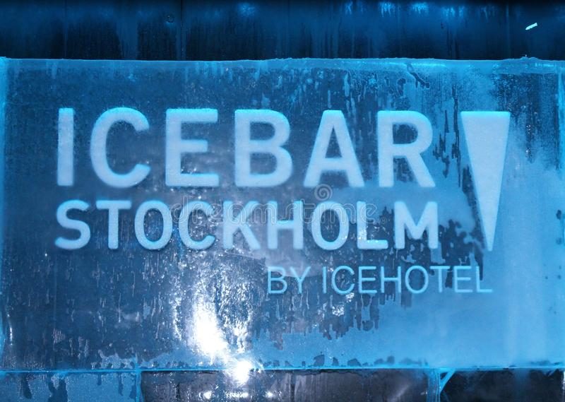 At ICEBAR by ICEHOTEL Stockholm, Sweden. ICEBAR by ICEHOTEL Stockholm was built in 2002 as the world`s first permanent ice bar. Every year, interior and design royalty free stock image